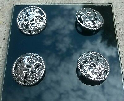 ANTIQUE SOLID SILVER BUTTONS 4  Chester 1901 Nathan&Hayes