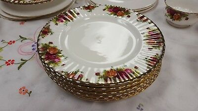 "1st Quality Royal Albert ""Old Country Roses"" 6 Dinner Plates,-26.5cm"