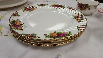 1st Quality Royal Albert Old Country Roses 4 Dinner Plates 26.5cm 1962 backstamp
