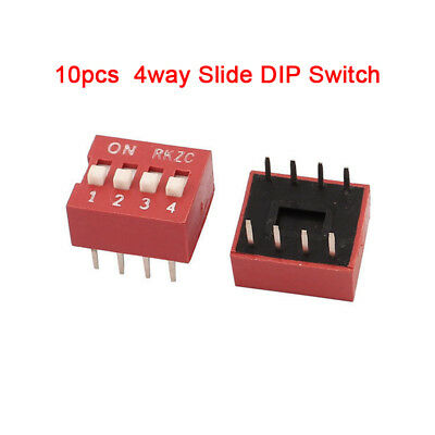 10 Stück DIP Schalter Kodierschalter Switch 4polig Mini Codier Knitter Switch DE