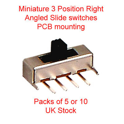 Miniature 3 Position Right Angled Slide switches Contact action ON-ON-ON (1P3T)