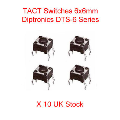 4-Pin 24VDC Mini Momentary Switch 6x6x4.3 mm Tactile Tact Push Button x 10