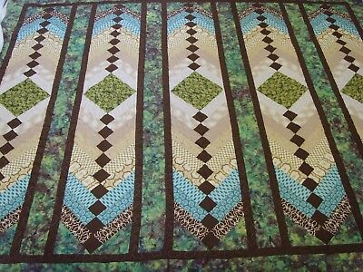"""Handmade Large size French Braid Patchwork Quilted / Throw - 86"""" x 74"""""""