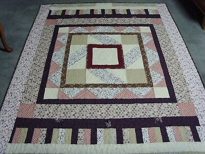 """Handmade Single Bed Size Patchwork Quilted / Throw - 74"""" x 56"""""""