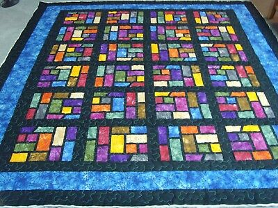 """Handmade Large size Patchwork Quilted / Throw - 86"""" x 84"""""""