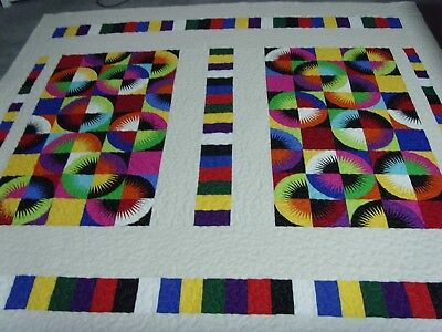 """Handmade Large size Patchwork Panel Quilted / Throw - 78"""" x 80"""""""