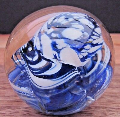 Beautiful Blue/white Swirls Art Glass Paperweight Ornament 6 Cms Dia - Reduced
