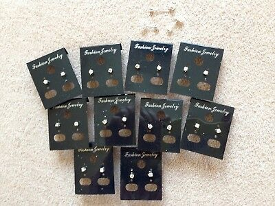 JOBLOT-10 pairs of 0.3cm crystal diamante stud earrings.UK handmade.Silver plate