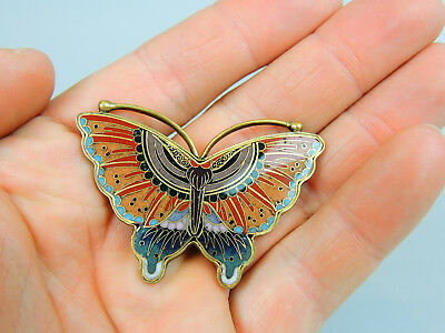 Antique Japanese cloisonné butterfly brooch
