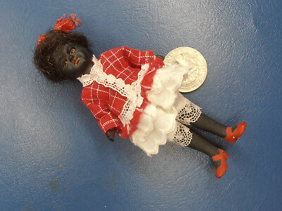 Antique Dolls Germany  black girl in dress with glass eyes Limbach 1900