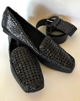 ea0f966e4a9a Navy Woven Leather Loafers PONS QUINTANA Size 41.5   10.5 Made in Spain RRP   260
