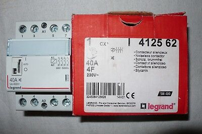 Contacteur Tetrapolaire 40 Amperes Legrand 412562, Contacts A Fermeture No. 220V