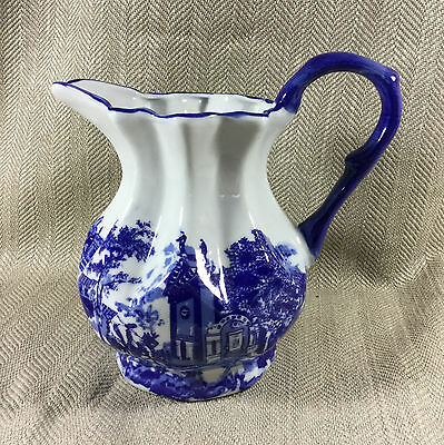 Vintage Blue & White Pottery Jug Victorian Antique Style Italian Ruins Pattern