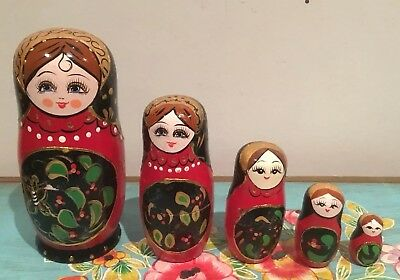 Wooden Hand Painted Babushka Set Red,Black, Gold Tones