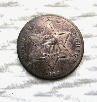 1859 3 Cent Silver..........AU Condition....has some nice luster both sides