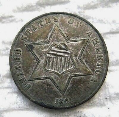 1861 3 Cent Silver..........AU Condition...........Nice strike.....