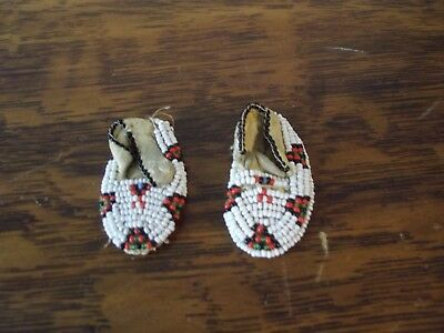 Pair of Nice Vintage Native American Indian Leather Beaded Miniature Moccasins