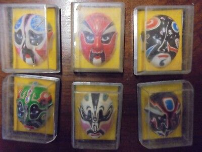 Vtg Chinese Opera Miniature Hand Painted Face Masks collectors set of 6