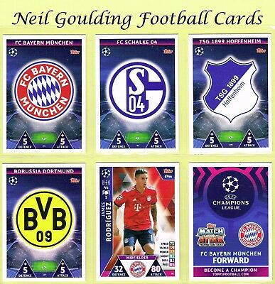 CHAMPIONS LEAGUE MATCH ATTAX 2018-2019 ☆ Football Base Cards ☆ #73 to #144