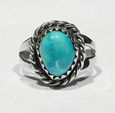 Vintage 1950s Turquoise Handmade 925 Silver Personal Navajo Family Childs Ring 2