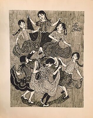 "LEO POLITI Original Lithograph Art Long Skirts Dancing Unframed 26"" X 32"" RARE"