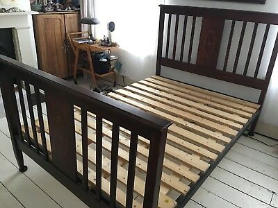 Vintage original Edwardian inlaid mahogany 'standard double' bed