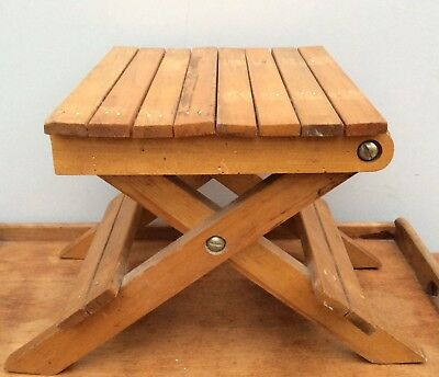 Vintage Wooden Wood Foldable Collapsible Stool Carry Seat Pot Stand