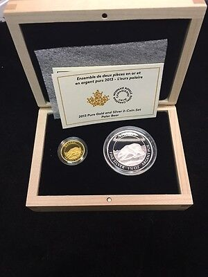 2013 Canada Polar Bear 99.99% Proof Gold and Silver 2 Coin Set w/ Box & COA