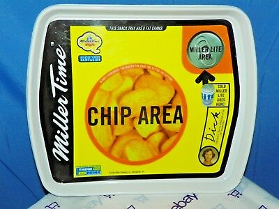 1998 Miller Time Miller Lite Snack Tray Chip Area Cold Beer Goes Here Tray