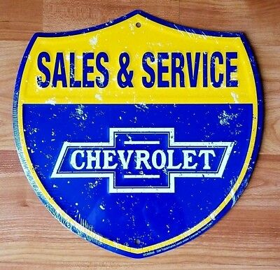 Chevrolet Sales and Service Embossed Metal Tin Shield Sign