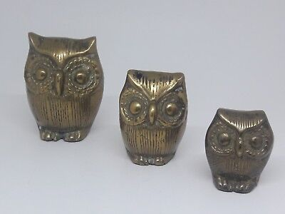 Vintage Brass Owl Family Set of 3 Very Cool! Paperweight Figurine Collectible