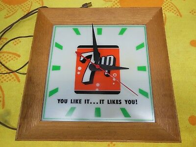 Original 1960's  7 UP Lighted Wall Clock  You Like It...It Likes You!