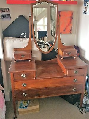 Antique Edwardian Mahogany Inlaid Mirror Dressing Chest