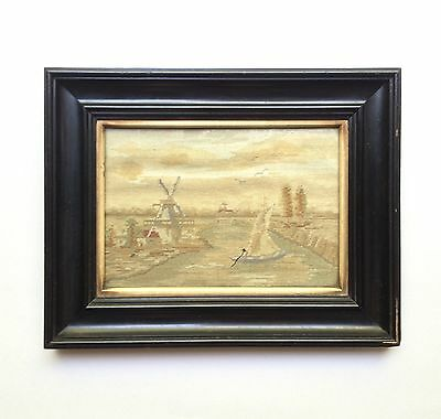 Fine Antique Framed Silk Needlepoint of Dutch Landscape, Late Victorian England