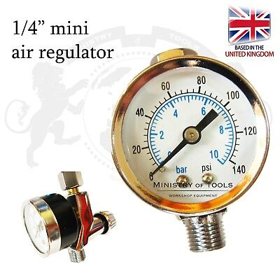 "Air Reductor Regulator for Spray Guns 1/4"" HVLP LVLP Air Flow Meter"