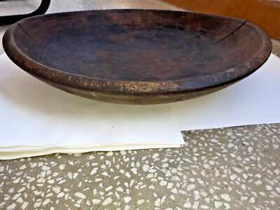 Antique Primitive Old Hand Carved Big Massive Wooden Plate Patina