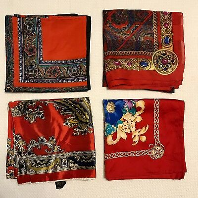 4 Scarves Square Bright Red Large Floral Paisley Tie Rack Poly Vtg Scarf Lot