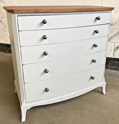 ANTIQUE MAHOGANY BOW FRONTED GRADUATED CHEST of 5 DRAWERS UPCYCLED PAINTED GREY