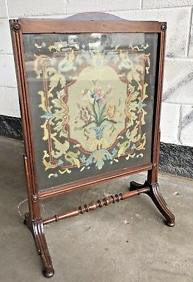 Antique Mahogany Fire Screen / Guard With Tapestry Insert Removable For Cleaning