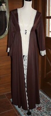 Vintage 70's Brown and Cream Lace Nylon Long ROBE - Size Small Medium