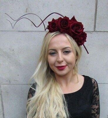 Burgundy Wine Red Maroon Rose Flower Feather Fascinator Headband Headpiece 6744