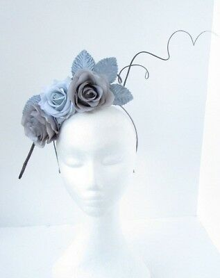 Grey Charcoal Blue Flower Feather Fascinator Headpiece Races Headband Crown 6746