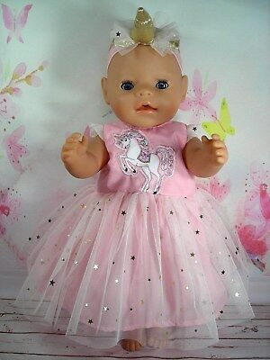 """Dolls clothes for 17"""" Baby Born/Cabbage Patch doll~PINK UNICORN/GOLD STAR DRESS"""