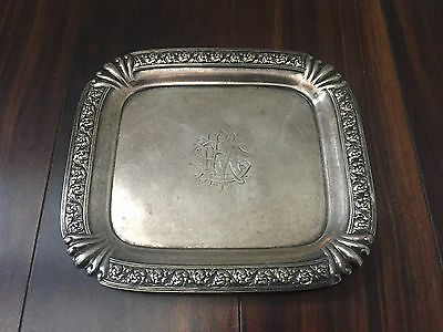 Rare Antique Tiffany & Co Sterling Silver Tray Travel Trivet Monogrammed