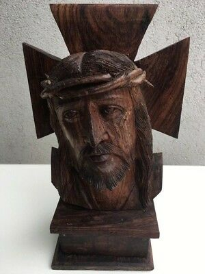 Vintage Crucified Christ Hand Carved BUST (Solid Wood!)