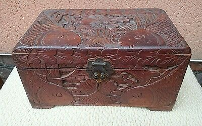 Vintage Highly Decorative Carved Camphor Wood Trinket Box