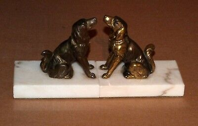 Art Deco/Vintage French bronze/spelter and marble book ends. Dog design.