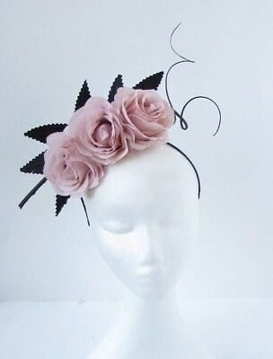 Blush Nude Light Pink Black Flower Feather Fascinator Headpiece Headband 6753
