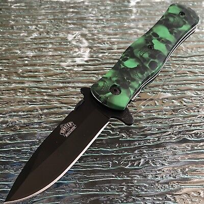 """Master Usa 8"""" Green Zombie Skull Tactical Folding Spring Assisted Pocket Knife"""