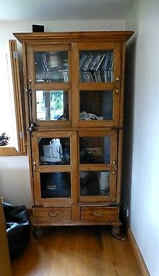 Solid Chunky Rustic Hard Wood Large Display Cabinet Cupboard Dresser Unit